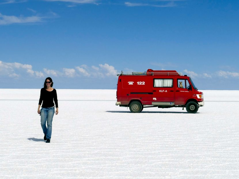 Driving across the Salar de Uyuni